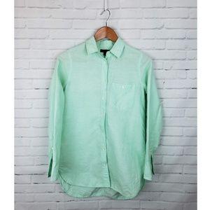 J.Crew Mint Long Linen Boy Button Down Shirt